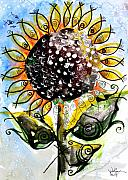 Sunflower Oil Paintings - Sunflower Fish 4 by J Vincent Scarpace