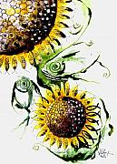 Sunflower Oil Paintings - Sunflower Fish 5 by J Vincent Scarpace