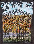 Iron  Tapestries - Textiles Prints - Sunflower Garden Gate Print by Sarah Hornsby