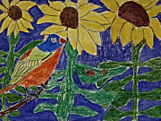 Canary Yellow Prints - Sunflower Garden Print by Stephanie Ward
