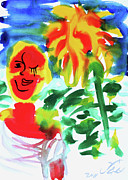 Yelow Prints - Sunflower Girl 1 Print by Jorge Berlato