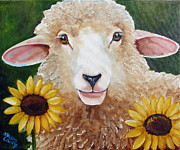 Lamb Framed Prints - Sunflower Girl Framed Print by Laura Carey