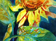 Dark Blue Green Posters - Sunflower Head 4 Poster by Kathy Braud