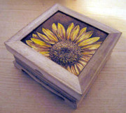 Box Pyrography - Sunflower by Ilaria Andreucci
