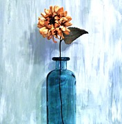 Golds Posters - Sunflower In A Beach Bottle Poster by Marsha Heiken