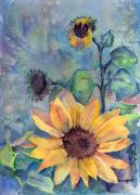 Yellow Flowers Painting Prints - Sunflower In Bloom Print by Arline Wagner