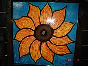 Antique Glass Art - Sunflower by Nikki Campbell
