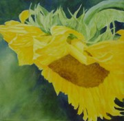 K Joann Russell Art - Sunflower Original Oil Painting Colorful Bright Sunflowers Art by K Joann Russell