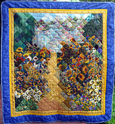 Impressionism Tapestries - Textiles Metal Prints - Sunflower path Quilt Metal Print by Sarah Hornsby