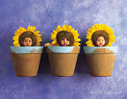 Anne Geddes Prints - Sunflower Pots Print by Anne Geddes