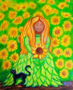 Black Cats Prints - Sunflower Princess Print by Nick Gustafson