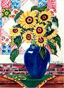 Quilt Drawings Posters - Sunflower Quilt Poster by Anne Nye