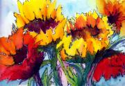 Sunflower Painting Metal Prints - Sunflower Serenade Metal Print by Anne Duke