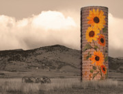 Silos Posters - Sunflower Silo in Boulder County Colorado Sepia Color Print Poster by James Bo Insogna