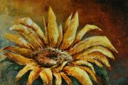 Pallet Knife Framed Prints - Sunflower study Framed Print by Michael Lang