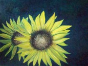Oil Paintings - Sunflower Twins by Rhonda Clapprood