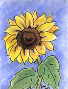 Thinking Of You Drawings - Sunflower by Vonda Lawson-Rosa