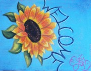 Side Pastels Prints - Sunflower Welcome Print by Scarlett Royal