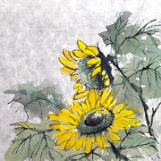 Invitations Painting Originals - Sunflowers 2 by Chris Paschke