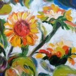 Gina Gray Paintings - Sunflowers 5 by Gina De Gorna