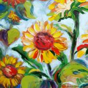Sunflowers Paintings - Sunflowers 6 by Gina De Gorna