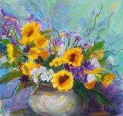 Vase Of Flowers Prints - Sunflowers Among Others Print by Margaret  Plumb