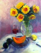 Cantaloupe Paintings - Sunflowers and Cantaloupe by Patricia Lyle