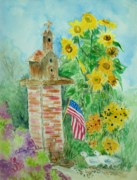 Fourth Of July Painting Framed Prints - Sunflowers and Church Birdhouse Framed Print by Melanie Palmer