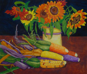 Indian Vase Posters - Sunflowers And Corn Poster by Renee Nelson