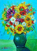 Sunflowers And Daises Print by Ana Maria Edulescu