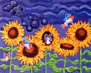 Acrylic On Canvas Painting Framed Prints - Sunflowers and Faeries Framed Print by Genevieve Esson