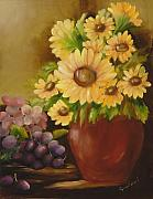 Purple Grapes Prints - Sunflowers and Grapes Print by Carol Sweetwood