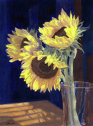 Blue Vase Painting Posters - Sunflowers and Light Poster by Lynne Reichhart