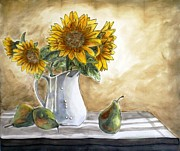 Dyes On Silk Framed Prints - Sunflowers and Pears Framed Print by Linda Marcille