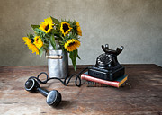Can Prints - Sunflowers and Phone Print by Nailia Schwarz