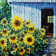 Fine Art Original Prints - Sunflowers and sunshine by Prankearts Print by Richard T Pranke