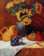 Teapot Painting Posters - Sunflowers and Undersea Vase Poster by Jeanne Young