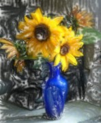 Vivid Colors Mixed Media - Sunflowers by Andreas Konstantinidis