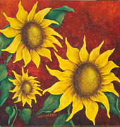 Pamela Allegretto Franz Originals - Sunflowers at Sunset by Pamela Allegretto