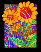 Sunflowers Paintings - Sunflowers at the Chapel by Barbara Drake