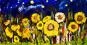 Oil Mixed Media - Sunflowers by Azul Fam