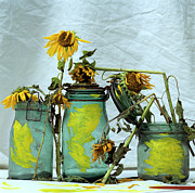 Mason Jars Prints - Sunflowers Print by Bernard Jaubert