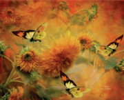 Floral Mixed Media Metal Prints - Sunflowers Metal Print by Carol Cavalaris