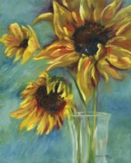 Creative Painting Framed Prints - Sunflowers Framed Print by Chris Brandley
