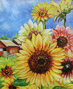 Flowers Sunflowers Barn Prints - Sunflowers Print by Debbie Bowman
