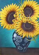 Floral Pastels Originals - Sunflowers by Don Gardi