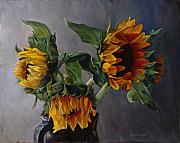 Florals Metal Prints - Sunflowers Metal Print by Donna Theis