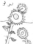Thelma Harcum - Sunflowers drawing