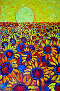 Field Of Sunflowers Paintings - Sunflowers Field At Sunrise by Ana Maria Edulescu