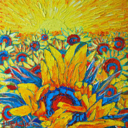 Abstract Realist Landscape Prints - Sunflowers Field In Sunrise Light Print by Ana Maria Edulescu